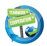 teamwork cooperation road sign illustration design