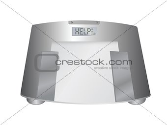 The word help on a weight scale, illustration