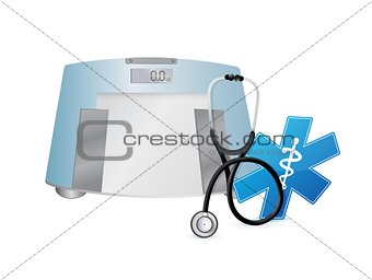 doctor symbol and weight scale, illustration