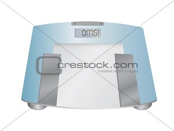 The word OMG on a weight scale, illustration