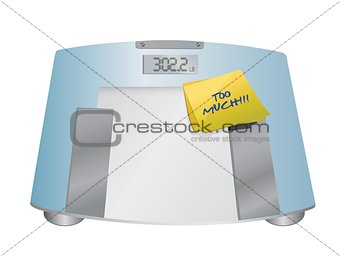too much sign on a weight scale. illustration