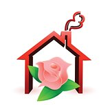 flower house illustration design