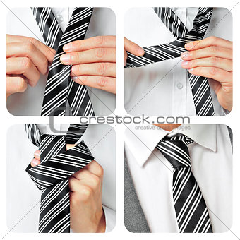 a man knotting his tie