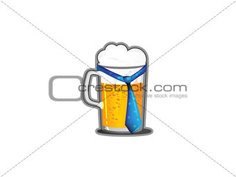 A beer mug with a tie