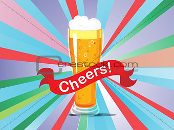 A beer glass on a colorful background