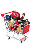 Christmas-tree decorations in a shopping cart