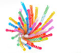 multi color flexible straws