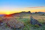 Sunset over Dobrogea hills