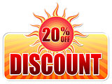summer discount and 20 percentages off in label with sun
