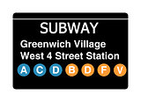 Greenwich Village West 4 Street Station subway sign