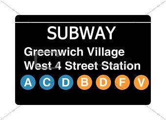 Greenwich Village West 4 Street Station subway sign