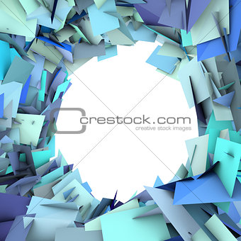abstract fragment blue spiked shape on white