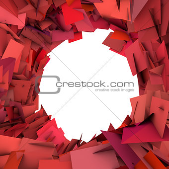 abstract fragment red pink spiked shape on white