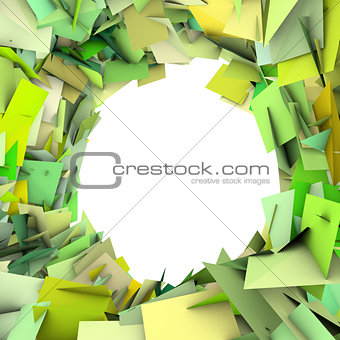 abstract fragment green spiked shape on white