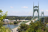 St Johns Bridge with Traffic Over Willamette River