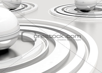 abstract metal polished spheres surrounded by lines on a grey background