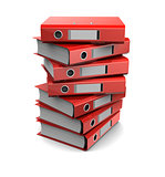 pile of red binder folders