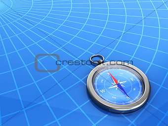 3d compass with a geographical background