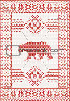 knitted pattern with bear