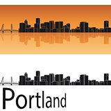 Portland skyline in orange background