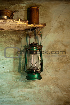 Antique oil lamp with clipping path
