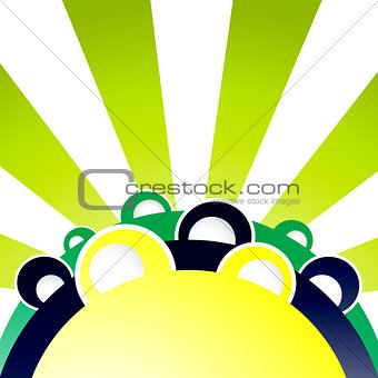 Abstract Colorful Sunny Hills with Houses Background. Vector Illustration