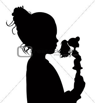 toddler child holding her toy baby silhouette vector