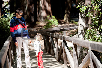 family of two hiking