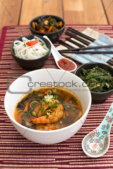 Asian soup with shrimps