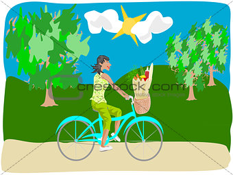 black woman riding bike with groceries