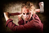 Sinister zombie axe murderer. A grunge death