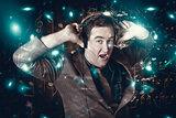 Blue light disco man dancing at club dance party