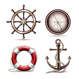 Set of marine symbols on white background.