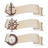 Set of banners with marine icons.