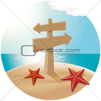 Guidepost At The Sea Beach