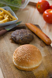 making hamburger fast food ingredients with plenty of raw materi
