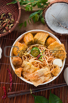 asam laksa noodle ,Penang style with raw ingredients on backgrou