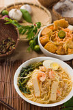 prawn noodles also known as har mee, famous food in Malaysia
