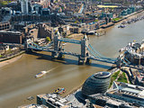 Tower Bridge and London City Hall aerial view