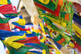 Prayer flags flying in the wind in Kathmandu, Nepal