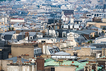 Paris rooftops aerial view