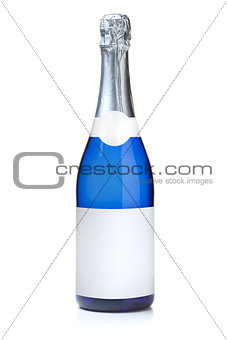Blue champagne bottle