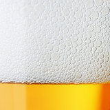 Macro beer with froth
