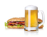 Cold lager beer glass and long sandwich