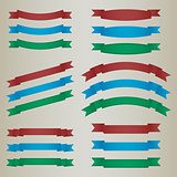 Collection of colorful retro ribbons