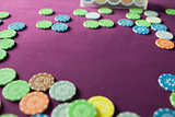 Colorful poker chips in a casino