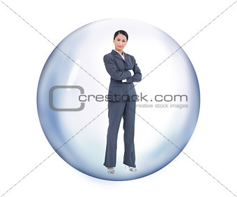 Businesswoman standing at a bubble