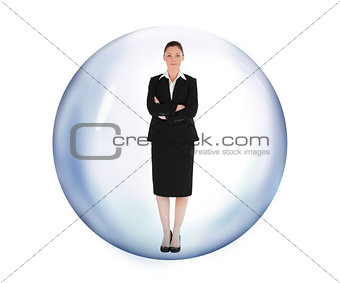 Businesswoman standing in bubble