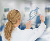 Woman using DNA helix interface