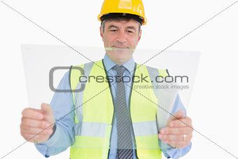 Architect holding a pane
